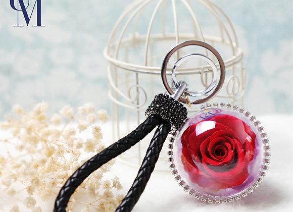 Preserved flower crystal ball rose in red 玫瑰永生花球鎖匙扣/保鮮花球鎖匙扣