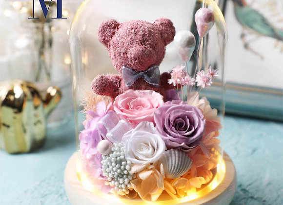 Preserved Flowers Red Rose with Bear (with light) 永生花 保鮮花 玫瑰與熊(帶燈)