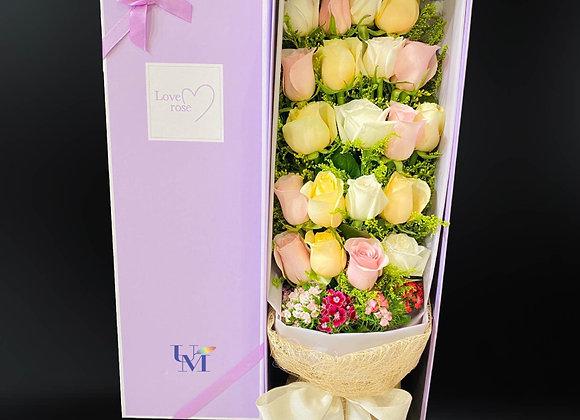 三色盒裝玫瑰 Roses in Box multiple colors for choice