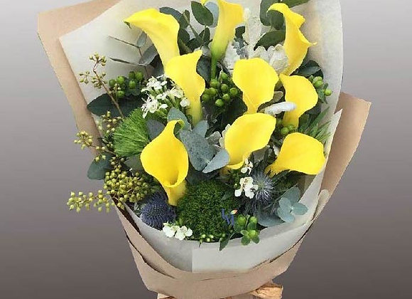 Calla Lily Yellow Bouquet Set
