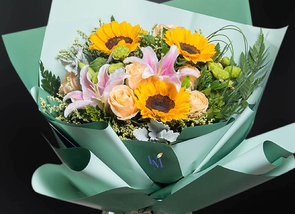 百合向日葵玫瑰花束 Roses Bouquet with Sunflower and Lily