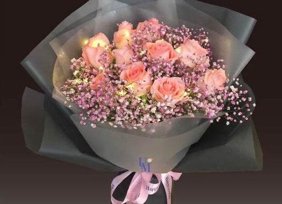 玫瑰花束連燈串 Roses bouquet with lights