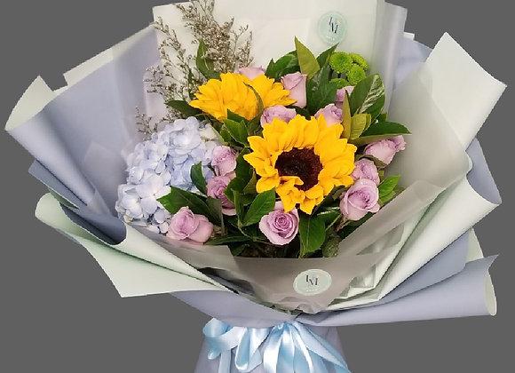 向日葵玫瑰繡球花束 Sunflower Rose Hydrangea Bouquet Set