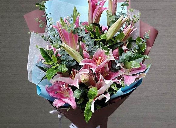 粉紅百合花束 Lily Sets in Pink