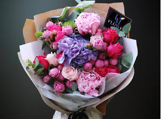 Roses Peony Hydrangea Bouquet Set