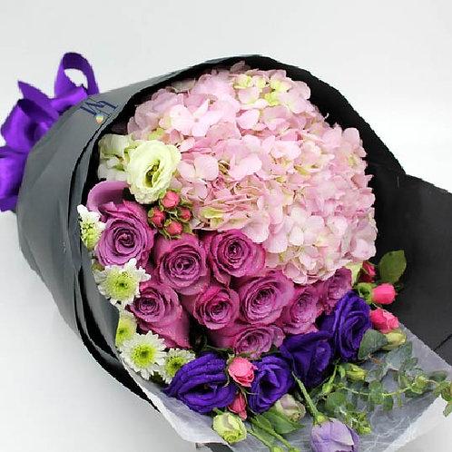 粉紅繡球棗紅玫瑰花束 Hydrangea Rose Bouquet Set