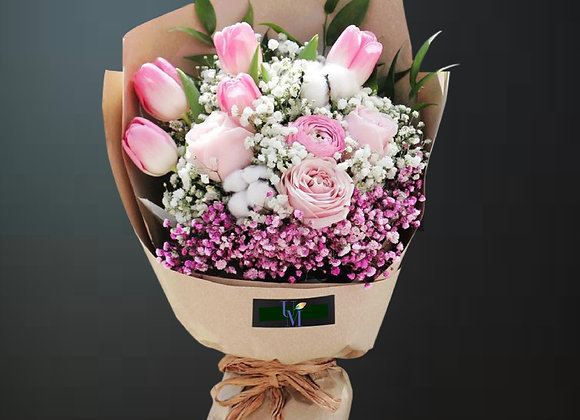 Tulips Rose  Baby Breath Bouquet Set