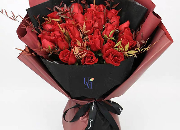 Roses Bouquet in Autumn Red 紅玫瑰秋色