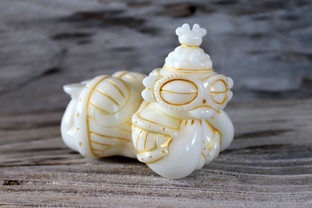 MILK GLASS AND GOLD ANCIENT SPACE BABE