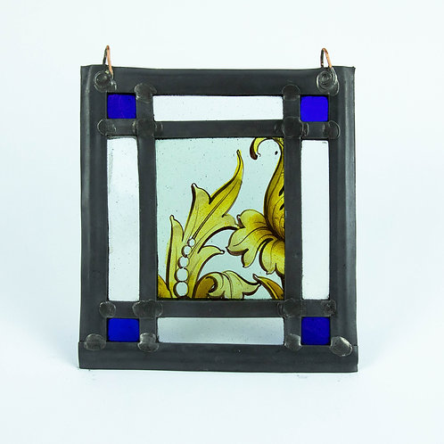 Yellow Leaf Square Stained Glass Ornament