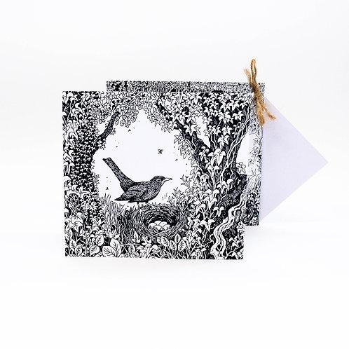 Blackbird and owl concertina card