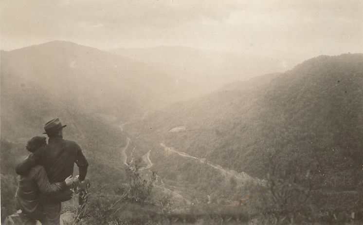 A couple on top of mountains, ca. 1930s.