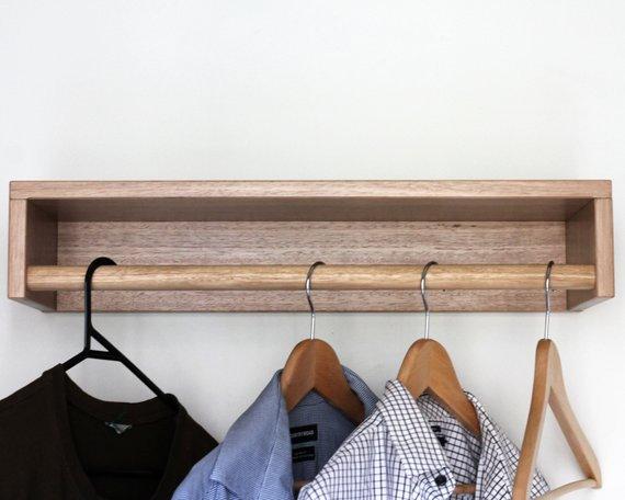 Timber wall shelf, clothing organiser, organisation, coat rack, coat hooks, plant shelf, flexi storage, open wardrobe