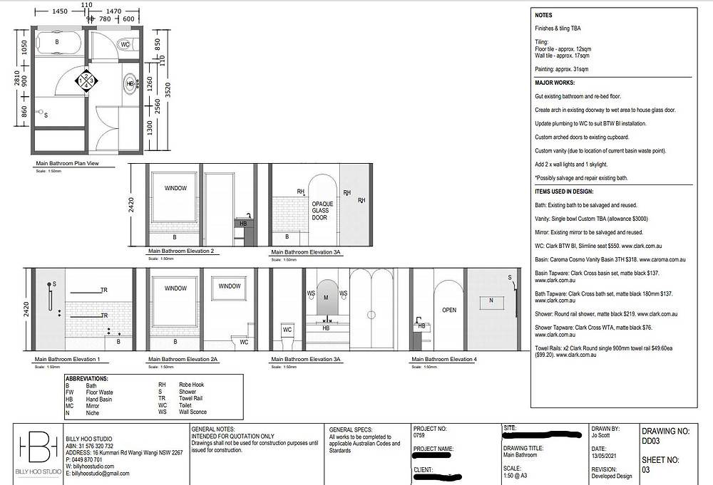 Example of Developed Design drawings for the purpose of tendering quotations