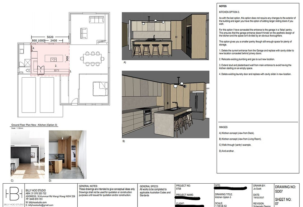 An example of our Schematic Design drawings for presentation to client.