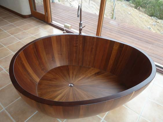 Timber freestanding bath, wooden freestanding bath, wood bath, timber bath