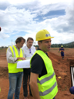 José Luís Lires (Project Manager), José Luís Moya (President, RiC Energy Group) and Fernando Marín Moreno (Co-Project Director) at a construction site of The Xsabo Group.