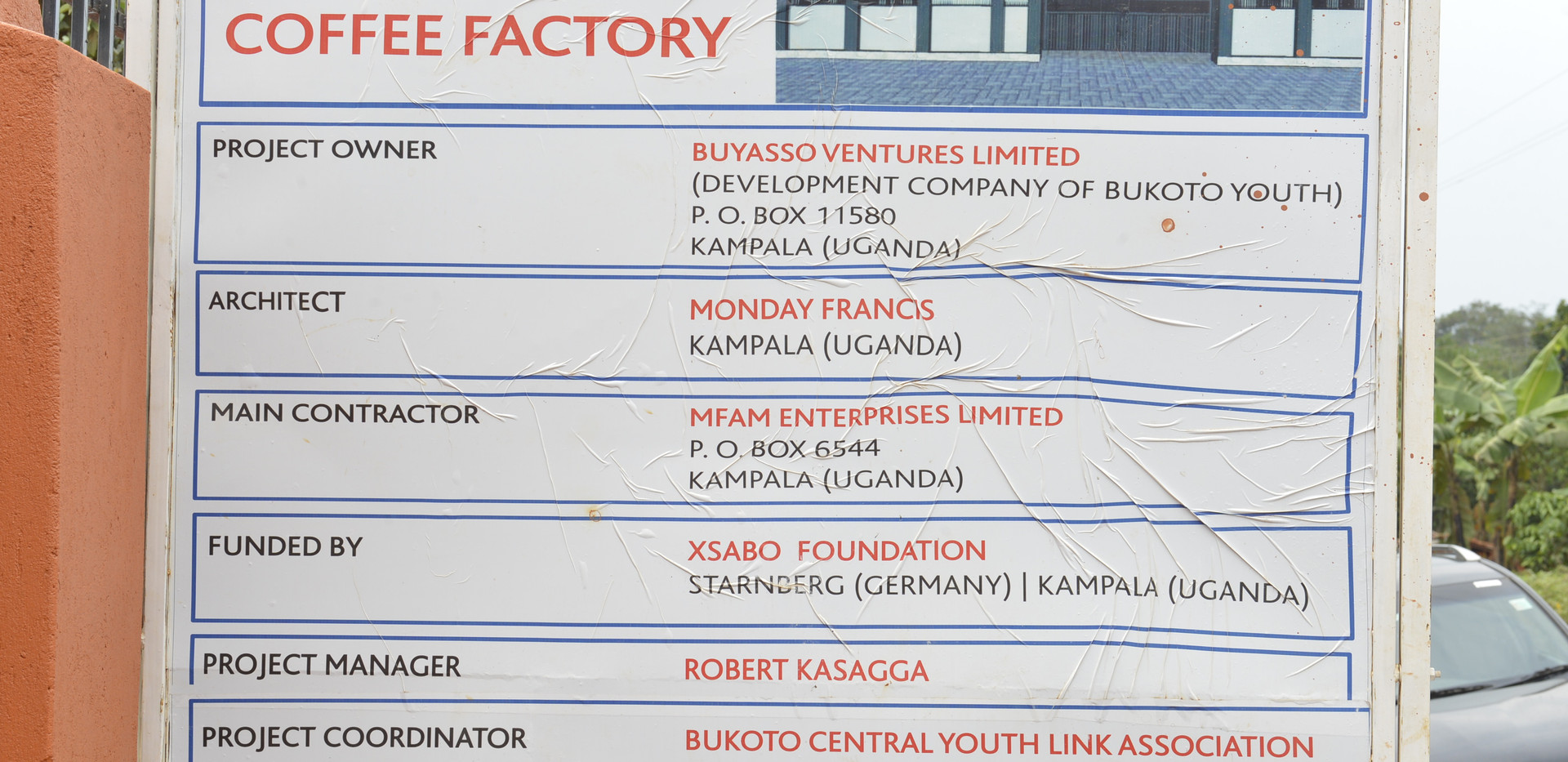 Billboard for the coffee factory for the youth that was sponsored by The Xsabo Foundation.
