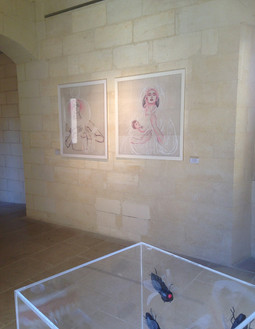 Fides Linien's artworks 'Maria Lactans' and 'Isis Lactans' at 'Visionary Art Show', Lecce, 2017