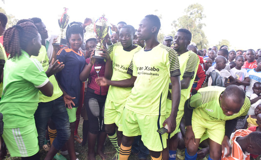 Winners and runners-up of the Annual Youth Football Tournament in Greater Masaka wear the Xsabo brand in addition to getting a new set of footballs from The Xsabo Foundation.