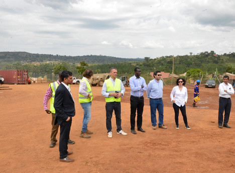 Staff at the construction site of one of Xsabo's high profile projects at a briefing with José Miguel Liquette (Project Director).