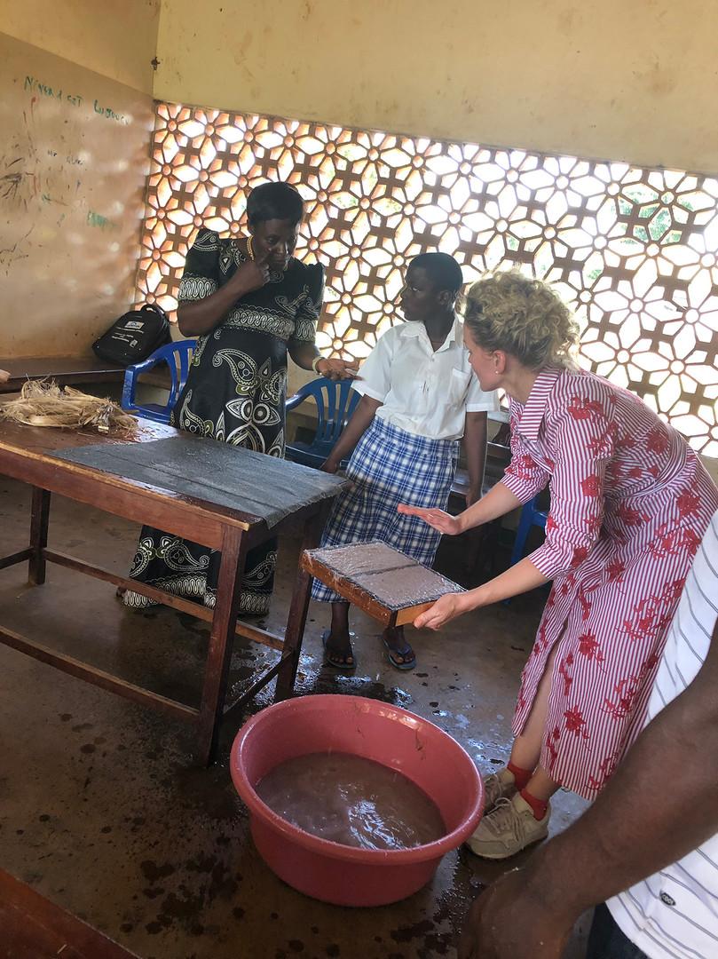 Mobile workshop for Do-it-Yourself sanitary pads at a school for deaf children, Eastern Uganda