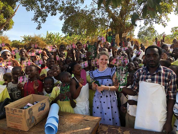 Mobile workshop for Do-it-Yourself sanitary pads at a school in Kabulasoke, Uganda