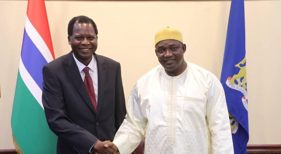 President Adama Barrow of the Republic of The Gambia (right) receives Dr. David Alobo, CEO/Managing Director of The Xsabo Group, in State House Banjul. Through The Xsabo Group's Commercial Diplomacy Practice and in his individual capacity, Dr. Alobo has over the years met the UN Secretary-General, the Federal President of Austria, the current Federal President of Germany, the World Bank President, the President of the European Commission, the UK Prime Minister, the UK Development Cooperation Minister and Secretaries of State of the USA over development issues in connection with Africa.