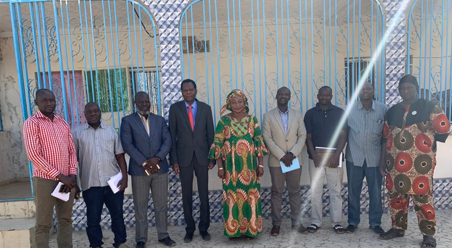 Amie Fabureh, Minister of Agriculture of The Gambia (middle) with her Technical Team poses with Xsabo's Dr. Alobo (on her right), Bernard Okello, General Manager of The Xsabo Group (on her left) and Musa Kejera of Xsabo Gambia (third from left).