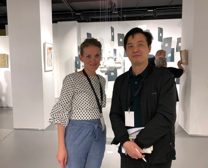 Curator of the 'Paper Art Biennale Shanghai' Anson Ou and Fides Linien at Paper Art Fest, Sofia, 2018