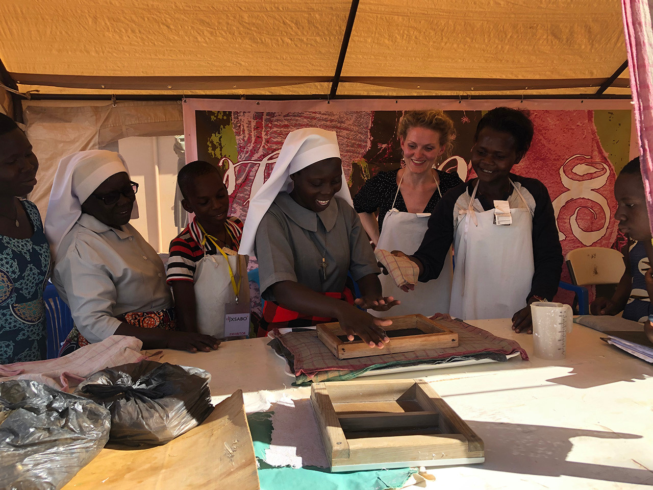 Demonstration to nuns in Northern Uganda in connection with the making of 'Fancy Pads'