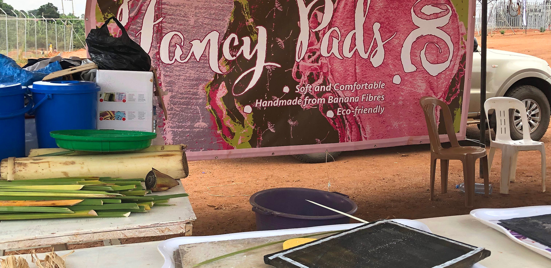 'Fancy Pads' tent in one of our mobile workshops.
