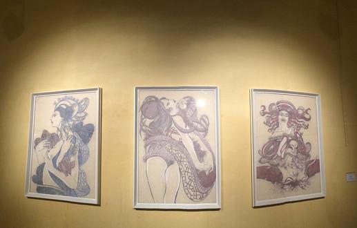 Fides Linien's artworks 'Morta', 'Dezima', 'Nona' at 'Timeless Fragments' Exhibition, Primo Piano LivinGallery, Brindisi, 2017
