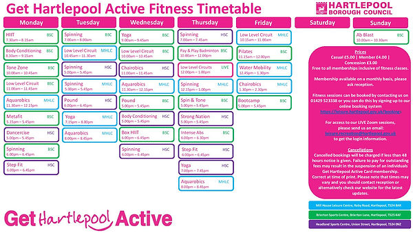 Indoor Fitness Timetable - Commencing 28