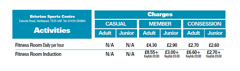 Brierton Fitness suite prices 2019.png