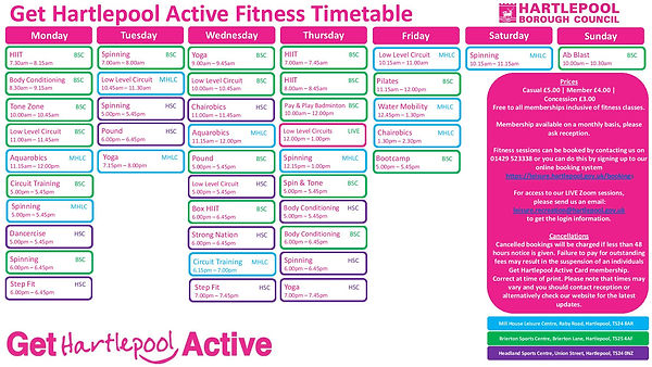 Indoor Fitness Timetable - Commencing 6t