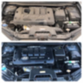 Engine Cleaning before and after picture