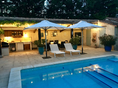 pool area by evening