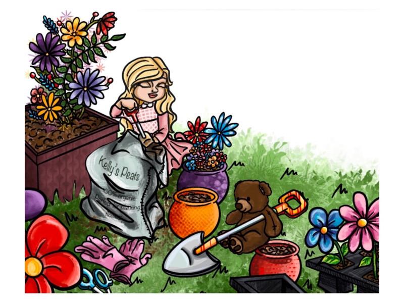 Blair & Teddy Bear Gardening