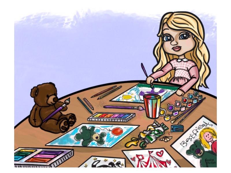 Blair & Teddy Bear Painting