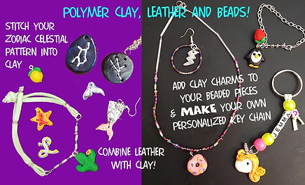 Polymer Clay charms, Leather and beads.j