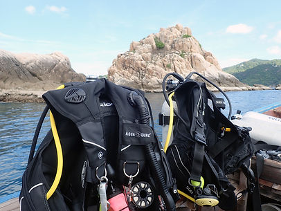 Scube diving equipment set up ready to go diving