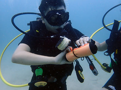 A scuba diving student getting ready to deploy an SMB