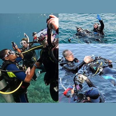 A diver performing rescue skills