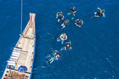 Scuba divers going diving koh Tao at Shark island
