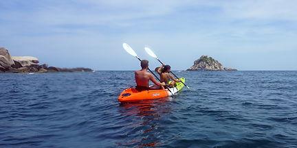 Kayaking near Shark island in koh Tao