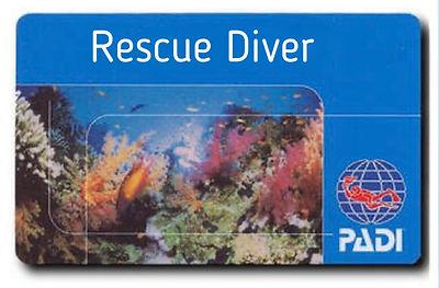 A PADI Rescue diver certification card