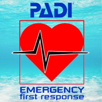 A PADI Emergency first response banner