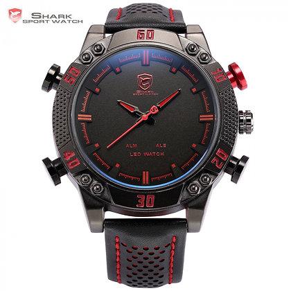 Reloj Shark Kitefin - Led Correa Cuero Negro/Rojo