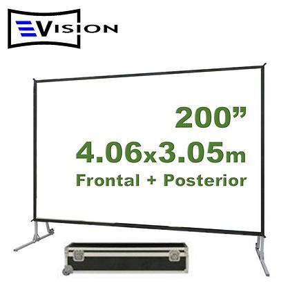 """Ecran Fast Fold 200"""" 4.06x3.05m - Proyección Frontal y Posterior"""